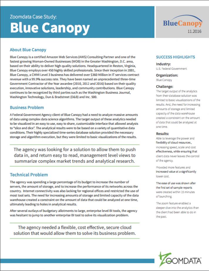 Zoomdata Blue Canopy big data case study